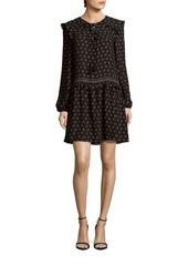 Max Studio Printed Long-Sleeve Ruffled Dress