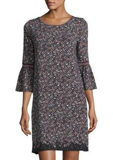 Max Studio Printed Matte Jersey Bell-Sleeve Dress