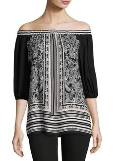 Max Studio Printed Off-The-Shoulder Tunic