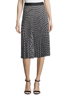 Max Studio Printed Pleated A-Line Skirt