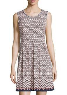 Max Studio Printed Pleated Sleeveless Dress