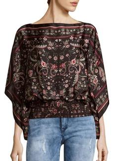 Max Studio Printed Pullover Caftan-Sleeve Blouse