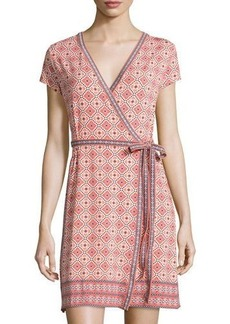 Max Studio Printed Short-Sleeve Wrap Dress