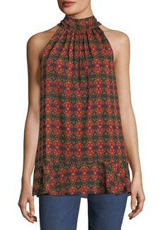 Max Studio Printed Tie-Neck Sleeveless Blouse