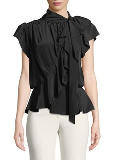 Max Studio Ruffled Cap-Sleeve Tie-Neck Blouse