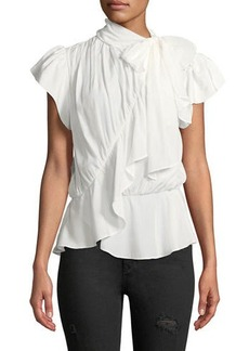 Max Studio Ruffled Cap-Sleeve Tie-Neck Blouse