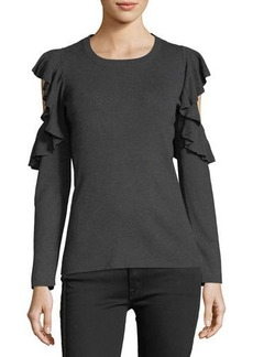 Max Studio Ruffled Cold-Shoulder Sweater