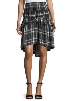 Max Studio Ruffled Plaid Skirt