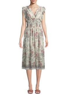 Max Studio Ruffled Smocked-Waist Midi Dress