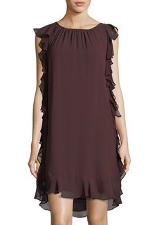 Max Studio Ruffled Textured-Georgette Dress