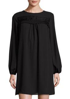 Max Studio Ruffled-Trim Long-Sleeve Georgette Dress