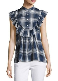 Max Studio Ruffled-Yoke Plaid Short-Sleeve Blouse