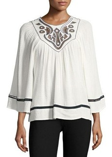 Max Studio Shadow-Check Embroidered Blouse