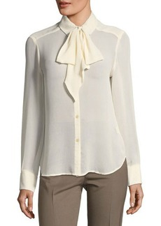 Max Studio Sheer Tie-Neck Button Down