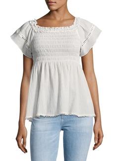 Max Studio Shirred Cotton Off Shoulder Top