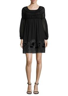 Max Studio Shirred Velvet Mini Dress
