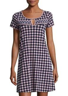 Max Studio Short-Sleeve Keyhole Trapeze Dress