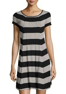 Max Studio Short-Sleeve Stripe-Print Dress