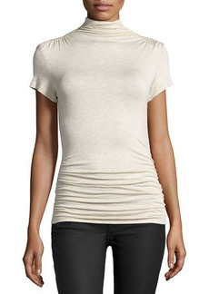 Max Studio Side-Ruched High-Neck Short-Sleeve Top