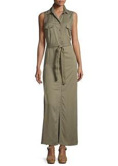 Max Studio Sleeveless Belted Twill Maxi Dress