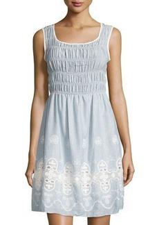 Max Studio Sleeveless Cotton Smocked Dress