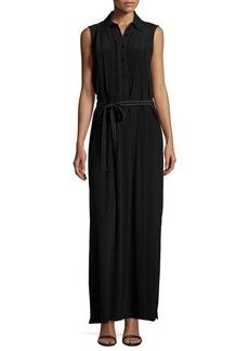 Max Studio Sleeveless Crepe Contrast-Stitching Dress