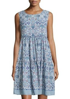 Max Studio Sleeveless Floral-Print Tiered Dress