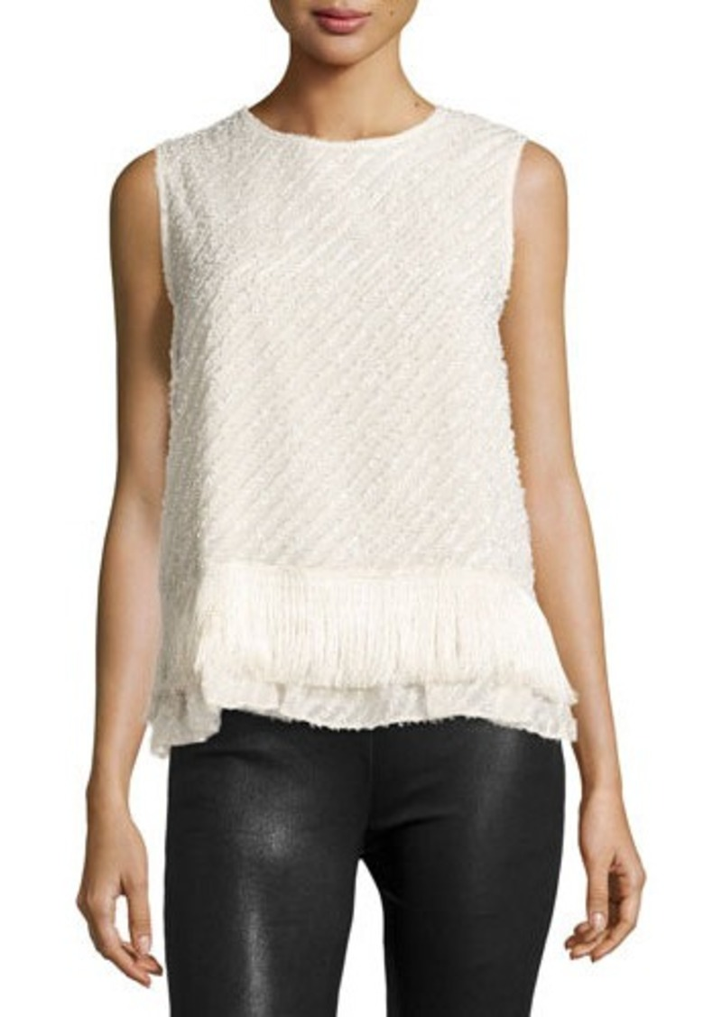 Max Studio Sleeveless Fringed-Hem Blouse