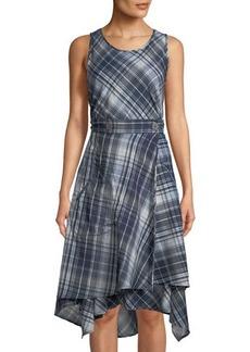Max Studio Sleeveless High-Low Wraparound Plaid Dress