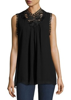 Max Studio Sleeveless High-Neck Lace-Trim Blouse