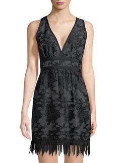 Max Studio Sleeveless Lace Jacquard Fringe-Hem Dress