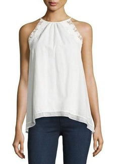 Max Studio Sleeveless Lace-Trim Cotton Blouse
