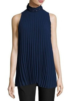 Max Studio Sleeveless Pleated High-Neck Blouse