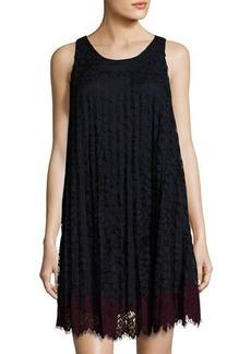 Max Studio Sleeveless Pleated Lace Shift Dress