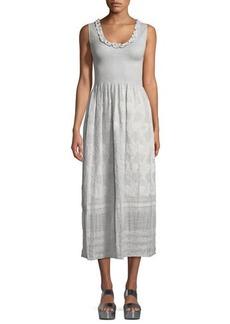 Max Studio Sleeveless Smocked Jacquard Midi Dress