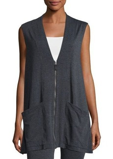 Max Studio Sleeveless Terry Zip-Front Cardigan