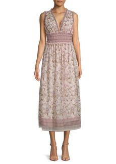 Max Studio Sleeveless V-Neck Floral Midi Dress