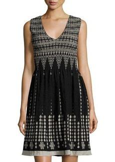 Max Studio Sleeveless V-Neck Smocked Jacquard Dress