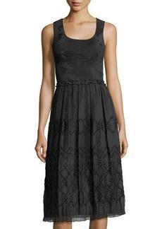 Max Studio Smocked-Bodice Sleeveless Jacquard Dress