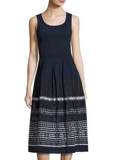 Max Studio Smocked Embroidered-Trim Jacquard Dress