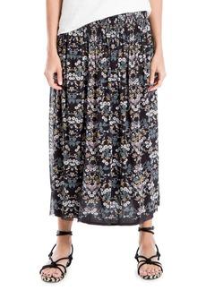 Max Studio Smocked Floral Midi Skirt