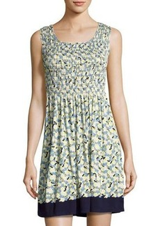 Max Studio Smocked Floral-Print Jersey Dress