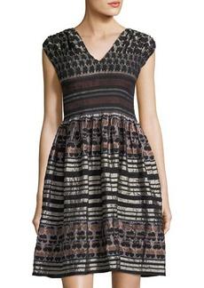 Max Studio Smocked Jacquard Dress