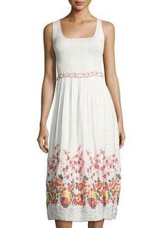 Max Studio Smocked Jacquard Sleeveless Dress