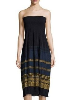 Max Studio Smocked Jacquard Strapless Dress