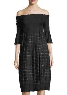 Max Studio Smocked Off-The Shoulder Dress