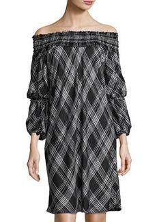 Max Studio Smocked Off-the-Shoulder Plaid Dress