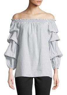 Max Studio Smocked Off-The-Shoulder Striped Blouse