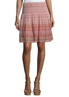 Max Studio Smocked-Waist Flared Skirt