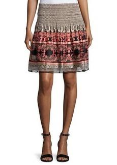 Max Studio Smocked-Waist Flared Skirt